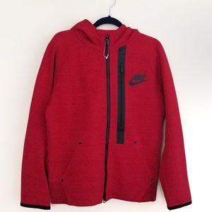 NWOT Nike Boys Tech Fleece Zip-up Hoodie Red sz S